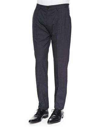 Pleated Wool/Mohair Trousers, Dark Navy