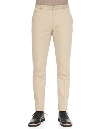 Garment Dyed Slim-Fit Trousers, Tan