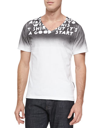 Gradient Printed V-Neck Tee, White/Black
