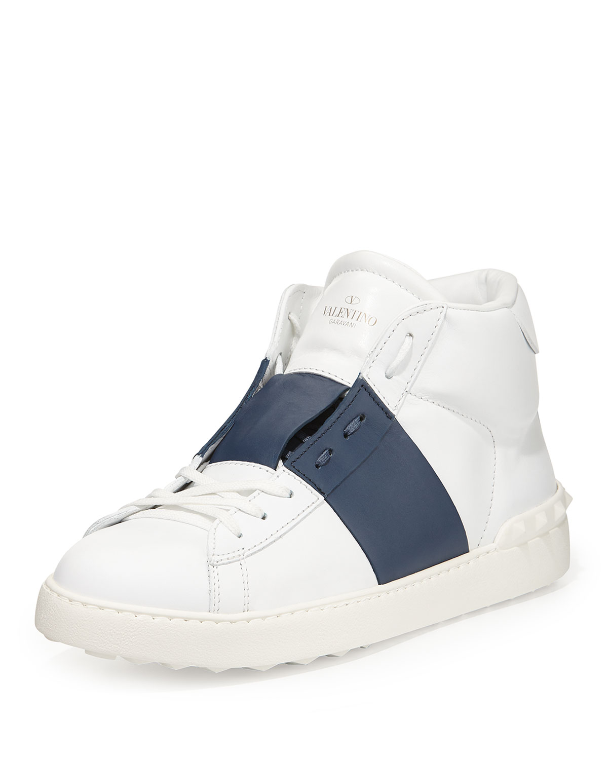 Rockstud Leather High-Top Sneaker, White/Blue, Size: 40.5/7.5D - Valentino