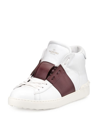 Rockstud Leather High-Top Sneaker, White/Burgundy