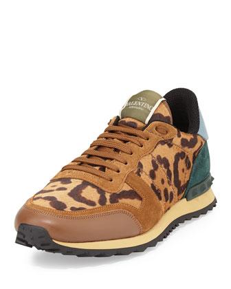 Rockstud Leopard-Print Calf Hair Sneaker