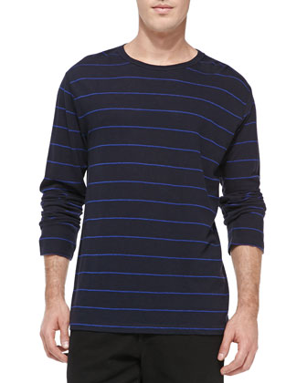 Linen/Cotton Striped Long-Sleeve Shirt, Blue