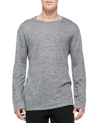 Heather Linen-Jersey Tee, Gray