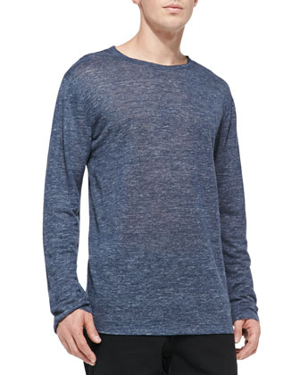 Heather Linen-Jersey Tee, Indigo