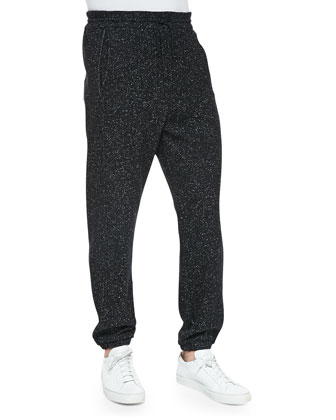 Boucle Fleece Track Pants, Black/White
