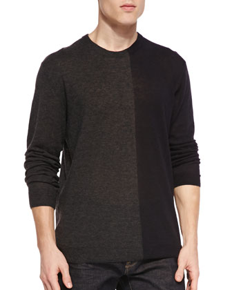 Bicolor V-Neck Sweater, Charcoal