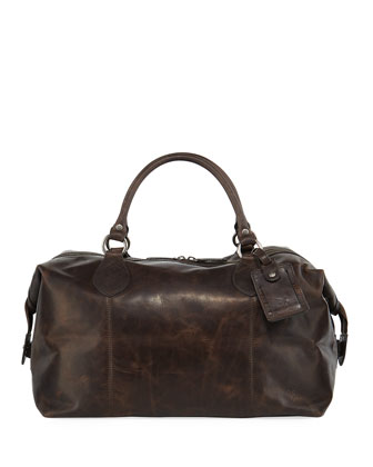 Logan Men's Leather Overnight Bag, Dark Brown