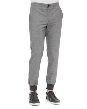 Two-Tone Lux Sweatpant Trousers, Gray