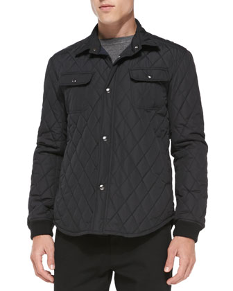 Quilted CPO Jacket, Black