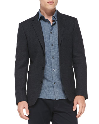 Rustic Herringbone Three-Button Blazer, Micro-Dot Button-Down Shirt & ...