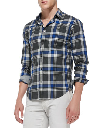 Large-Plaid Poplin Shirt, Blue/Gray