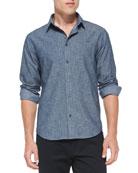 Micro-Dot Button-Down Shirt, Blue