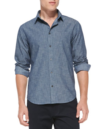 Micro-Dot Button-Down Shirt, Blue