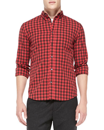 Check Button-Down Shirt, Red