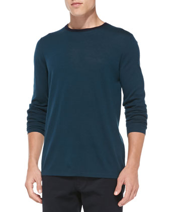 Wool-Cashmere Crewneck Sweater, Gray-Green