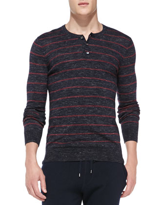 Wool/Linen Striped Henley, Gray
