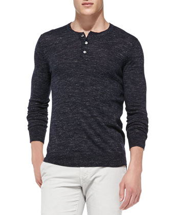 Wool/Linen Long-Sleeve Henley, Navy