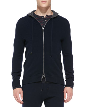 Cashmere Zip Hoodie, Wool/Linen Striped Henley & Lux Wool-Cashmere Sweatpants