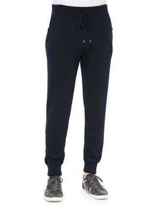 Cashmere Zip Hoodie, Wool/Linen Striped Henley & Lux Wool-Cashmere Sweatpants