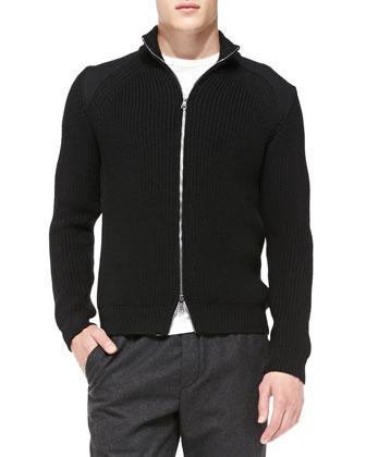 Chunky Full-Zip Cardigan, Black