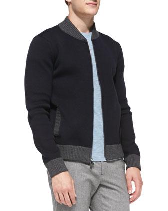 Full-Zip Baseball Cardigan, Slub-Jersey Short-Sleeve Tee & Two-Tone Lux ...