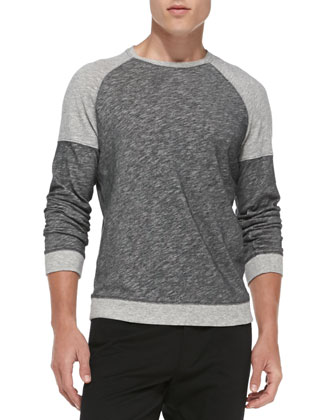 Colorblock Melange Long-Sleeve Shirt, Black