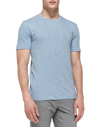 Slub-Jersey Short-Sleeve Tee, Light Blue