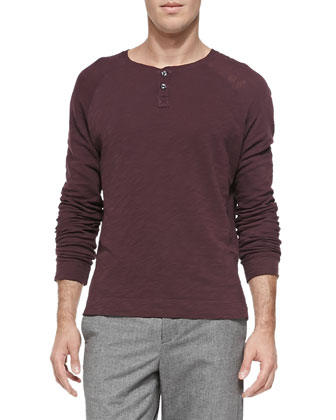 Long-Sleeve Slub-Jersey Henley, Wine