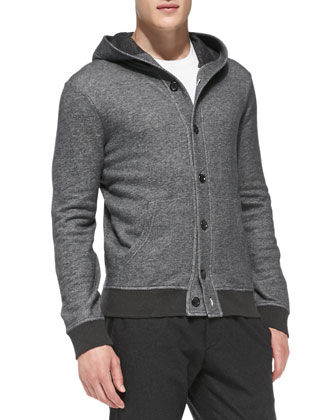 Marled Hooded Sweatshirt Cardigan, Dark Gray