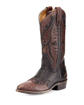 Billy Firebird Leather Western Boot, Black