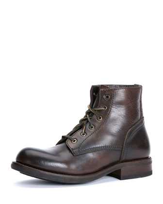 Sutton Mid-Height Lace-Up Boot, Dark Brown
