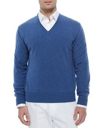 Baby Cashmere V-Neck Sweater, Denim Blue