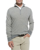 Roadster Half-Zip Cashmere Sweater, Silver