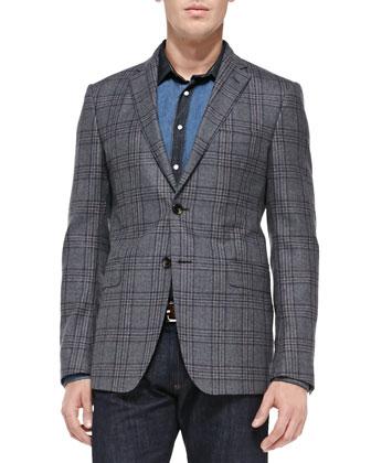 Check Two-Button Blazer, Denim Patch Shirt & Dark-Wash Five-Pocket Jeans