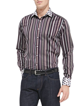 Striped Sport Shirt with Contrast Collar, Purple