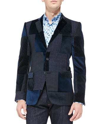 Patchwork Velvet Jacket, Small-Paisley Print Poplin Shirt & Dark-Wash ...