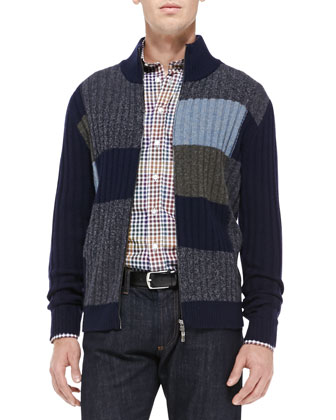 Colorblock Full-Zip Cardigan, Navy