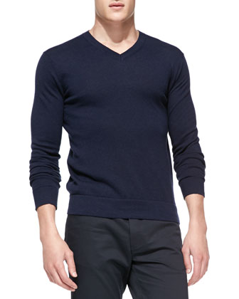 Leiman V-Neck Cashcotton Sweater, Navy