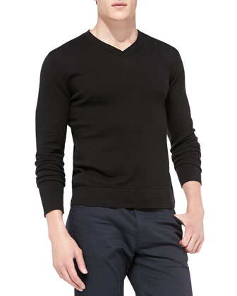 Leiman V-Neck Cashcotton Sweater, Black