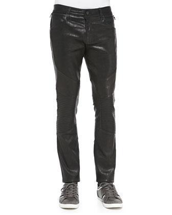 Leather Bearden Moto Pants, Black