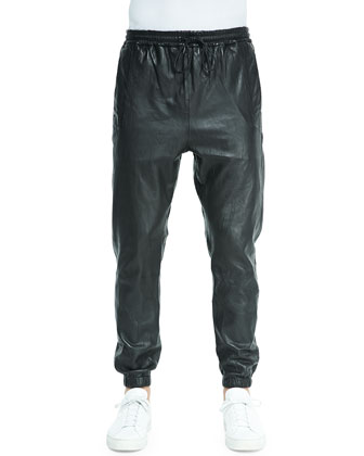 Leather Cadmus Jogging Pants, Black