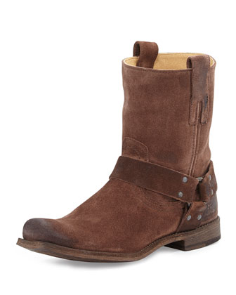 Smith Suede Harness Boot, Dark Brown