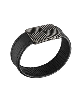 Men's Bedeg Stripe Leather Bracelet