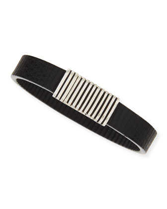 Men's Bedeg Linear Stripe Leather Bracelet