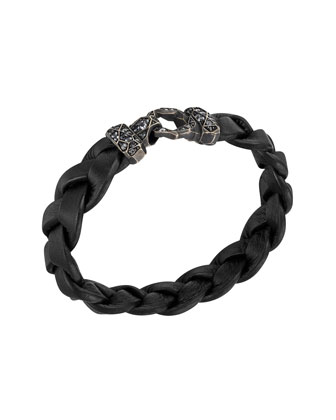 Men's Classic Chain Garnet Silver Lava Hook Bracelet