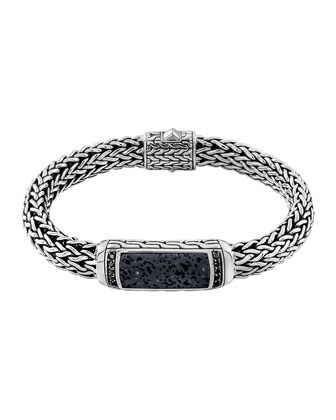 Men's Classic Chain Black Volcanic and Black Sapphire Bracelet