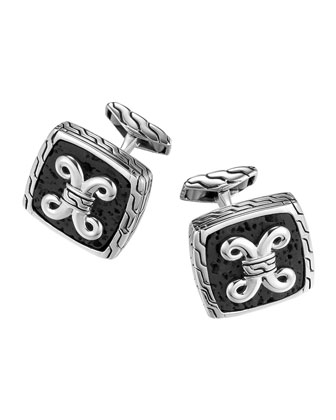 Batu Dayak Silver Square Cuff Links
