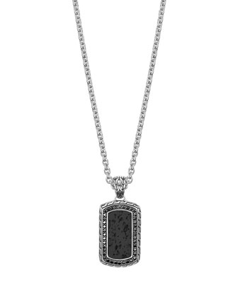 Batu Classic Chain Volcanic Dog Tag Pendant Necklace