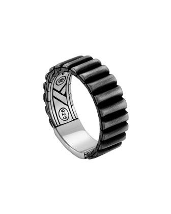 Men's Bedeg Linear Line Pattern Band Ring